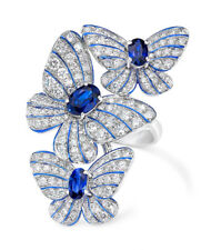 Charming Silver Blue Sapphire Butterfly Ring Women's Wedding Engagement Jewelry