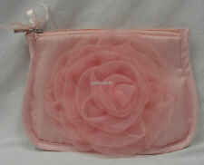 New Pink Satin Cosmetic Purse with Zip Embellished With Pretty Organza Rosette