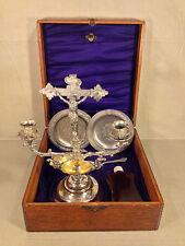 Antique Traveling Christening Baptism Set in Oak Case Cross Dipper Spoon