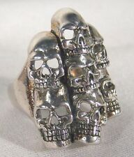 PILE OF SKULLS BIKER RING BR01 jewelry unique style NEW novelty fashion mens