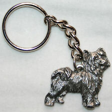 Chinese Crested Powder Puff Pewter Keychain Key Ring