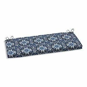 """Pillow Perfect Outdoor/Indoor Woodblock Prism Bench/Swing Cushion 45"""" x 18"""" Blue"""