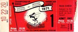 1971 AL Championship Series ALCS Game 1 ticket stub Orioles beat Oakland A's 5-3