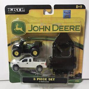 ERTL 1:64 John Deere 3 PIECE SET-FORD Pick Up,ATV AND HAULER 4wheeler-#35398-7HE