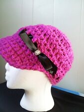 Crochet Fuchsia Pink Newsboy Beanie hat