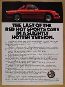 1986 Alfa Romeo Quadrifoglio red sports car vintage print Ad