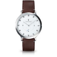 Lilienthal Berlin Uhr - Made in Germany - L1 Zifferblatt Weiß Leder Braun B-WARE