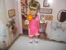 "Pink Basketball uniform and ball fits 18"" American Girl dolls Julie - Pink"