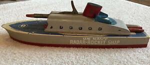 "Vintage 1940s WW2 Era Vintage 14"" KEYSTONE NAVY RADAR ROCKET SHIP In Box & Darts"