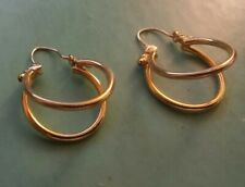 14k Yellow Gold Double  Round Hoop Earrings ((455))