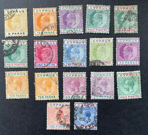 Cyprus, 17 x Used Edward VII - George V Stamps (Mixed Quality)