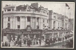 Postcard London shop front Dickins and Jones Sale posted 1904 perfin stamp