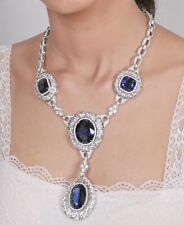 Blue Oval & Cushion 925 Sterling Silver Vintage Style CZ Halo Statement Necklace