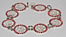Silver Rose/Red Rhinestone Connectors  Bracelet