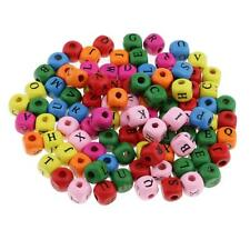 100pcs Multicolor Wooden Alphabet Letters Cube Beads for Handmade Craft 10mm