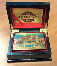 24K Karat Dubai Atlantis Gold Plated Poker Playing CardWood Box CertificateUk