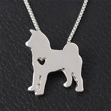 Kette m. Anhänger silber Husky Schäferhund Hund Weihnachts Geschenk Halskette