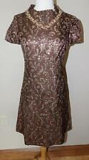 VTG 70s ADELE SIMPSON GOLD METALLIC LAME STONES JEWELS COCKTAIL PARTY DRESS XS S