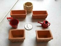 Doll House Miniatures 4 Terra Cotta Garden Planters Water Pail Watering Can NEW