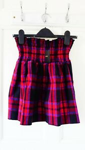 Maje Checked Skirt With Smocking, Red Black, UK 10, M, Cotton, New With Tag
