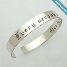 Silver Mens Bracelet - Personalized Mens Jewelry - Custom Engraved Cuff for Men