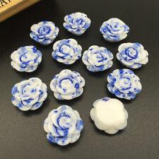15pcs blue Resin Rose Flower flatback Appliques For phone/wedding /crafts