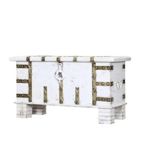 Cromer Indian Solid Wood Trunk Storage Box White (MADE TO ORDER)