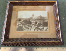 Vintage Street Scene Bicycle Race Germany Cabinet Photograph in Tramp Art Frame
