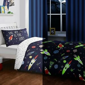 Glow In The Dark Space Boys Toddler Junior Cot Bed Duvet Quilt Cover Bedding Set