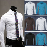 Business Mens Casual Shirt Slim Fit Dress Shirts Tops Long Sleeve Blouse T-shirt