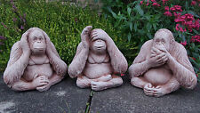 WISE MONKEYS Speak See Hear No Evil SET OF 3 Stone Garden Ornament ⧫onefold-uk