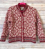 Vintage LL Bean Womens XS Red Fair Isle Print Wool Sweater Cardigan Made in USA