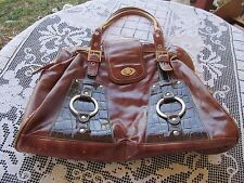 D&G Dolce & Gabbana mahogany brown faux leather purse shoulder