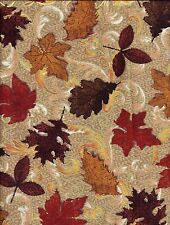 Autumn Fall Leaves Brown Red Gold curtain valance