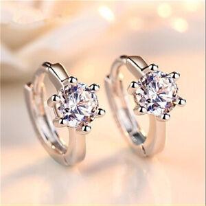 Women Girls Shiny Faux Diamond Round Hoop Ear Studs Earrings Fashion Jewelry  J