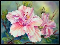 Double Hibiscus - Chart Counted Cross Stitch Pattern Needlework Xstitch Craft