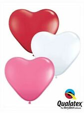"""100 x 6"""" Heart Love shaped party balloons in assorted colours"""