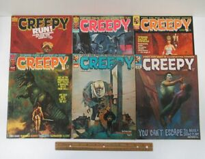 Lot (6) Vintage [1971-1980] CREEPY Horror Comic Warren Magazines #39-115 yz5562