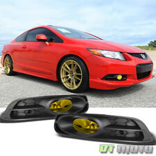 For 2012-2013 Honda Civic 2Dr Coupe Yellow Bumper Fog Lights+Switch Left+Right