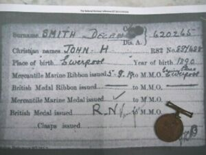 WW1 MERCANTILE MARINE MEDAL.SMITH.LIVERPOOL Int.Later Served RN + USA Citizen.