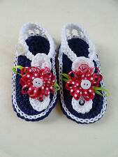 Baby Girl Cotton Crochet Sandals / Flip Flops 0-3 month plum / white