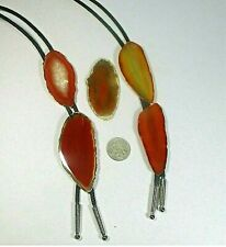 silvery ends Select stone ʱ I1 Bolo tie polished vertical red-ish agate slice