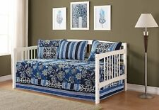 Fancy Linen 5pc Day Bed Cover Floral Navy Blue Black Reversible New