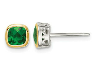 9/10 Lab Created Emerald Post Earrings in Sterling Silver with 14K Gold Accents