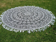 Round Mandala Indian Elephant Black & White Tribal Tapestry Beach Picnic Throw
