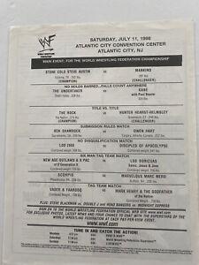 wwf program wrestling Match Card Insert Attitude Era Stone Cold  Vtg Magazine