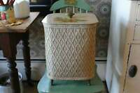 Vintage Wicker Sewing Box, Large Cream Wicker Standing Sewing Basket With Decal