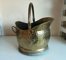 Old Gold Brass Coal Scuttle Bucket Helmet Shaped Storage Fireplace Home Decor