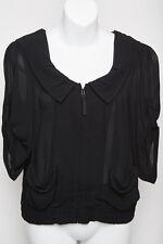 Cue Womens Zip Jacket Top with Hoodie Black Size AUS 6