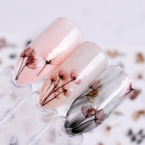 3D Beauty Nail Art Sticker Water Transfer Stickers Decor Flower Decals Tips bw